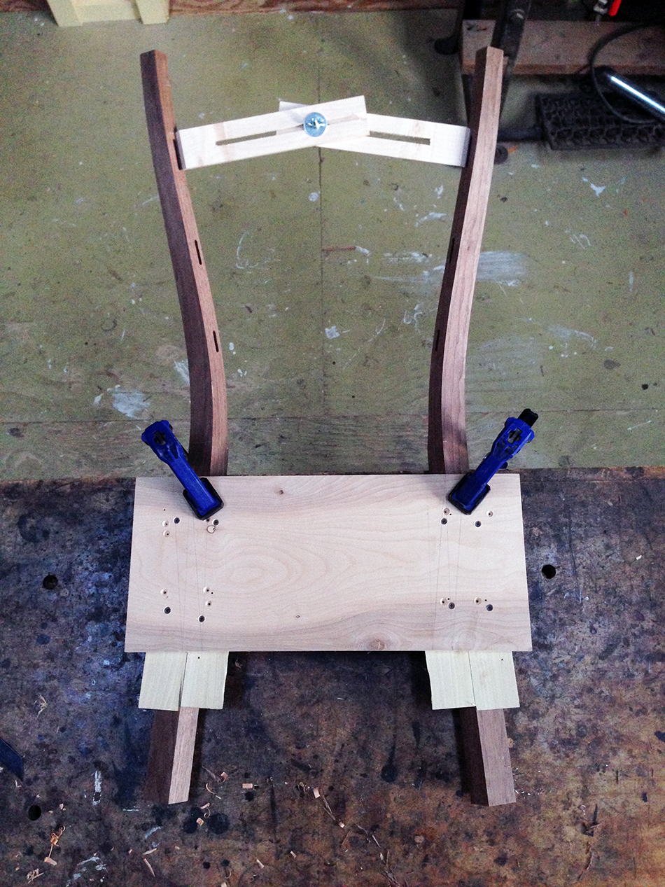 Side Chair Class, Day Two: Measuring the distance between the legs at each slat mortise
