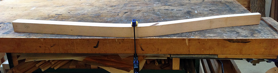Evaluating flatness prior to jointing. This side of the leg is relatively flat so it is the better side to joint.