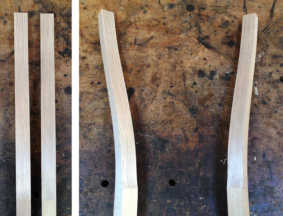 When evaluating grain direction in the rear legs look for long grain that slopes toward the center.