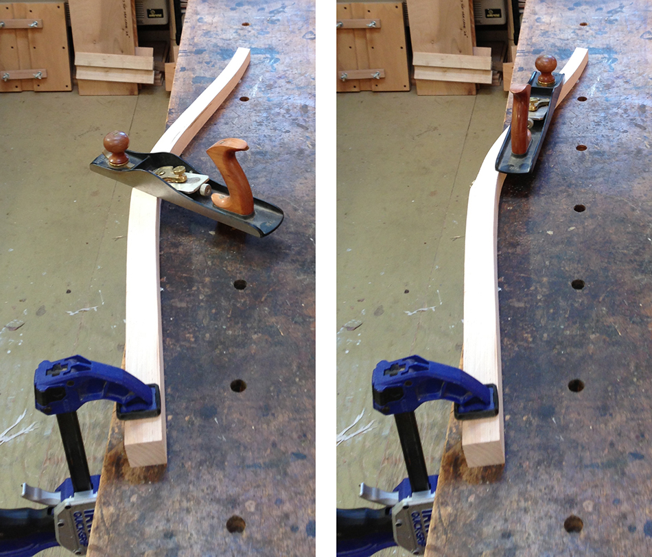 Planing the surface of the taper. On the left, using a severe skew angle at the transition between the taper and the flat bottom portion of the leg. On the right, using a normal skew angle to achieve a continuous flat surface.