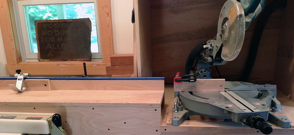 The chop saw is set up to make the first trim cut.