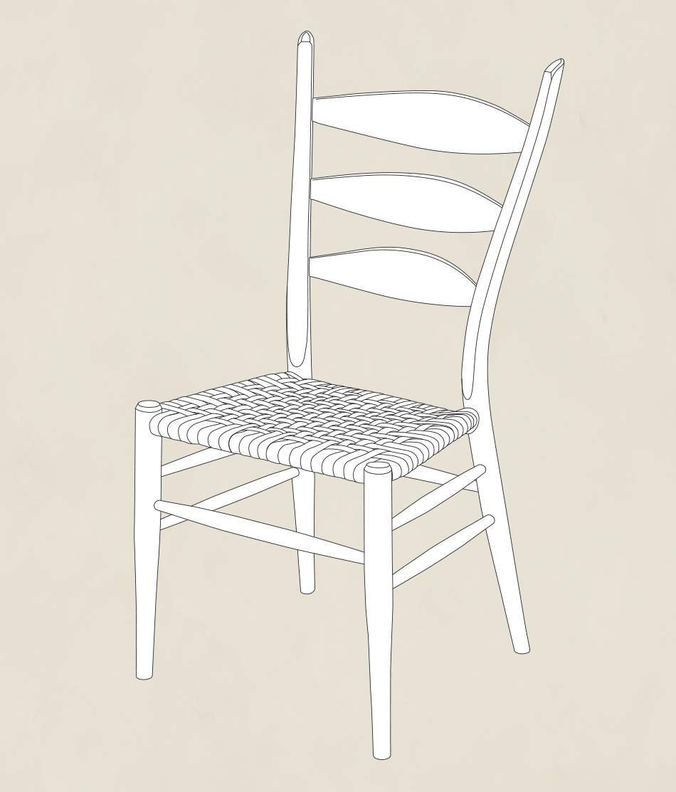 3-Slat Post & Rung Side Chair designed by Brian Boggs, three quarter view