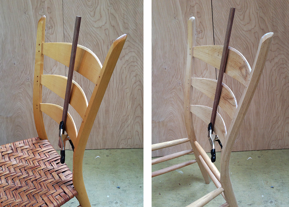 An improved method for aligning the slat mortises results in better alignment of the slats in the chair on the right
