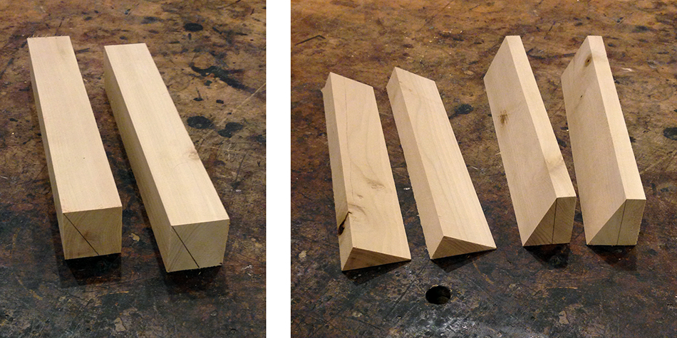 To make the supports blocks begin with pieces shown on the left. On the right are two finished support blocks and two pieces that need one additional cut each.