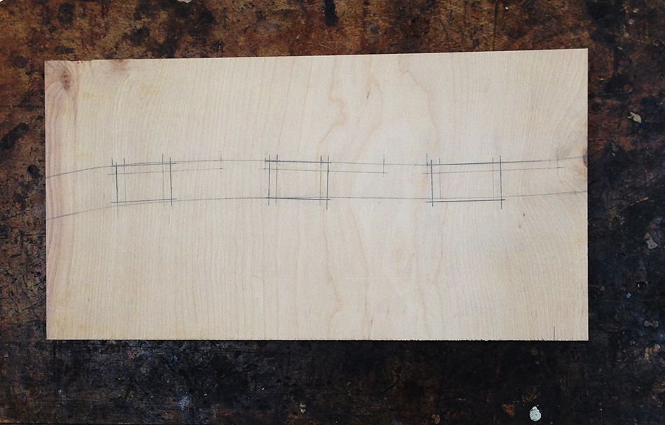 The slat mortise jig master template with the template openings laid out