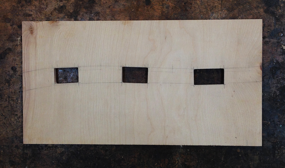 The finished slat mortise jig template master