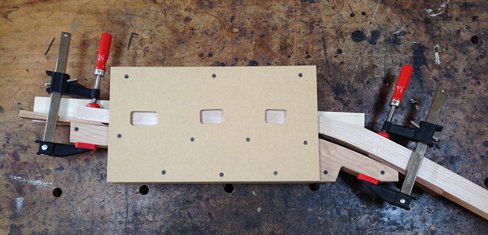 Top view of the slat mortise jig set up and ready to use