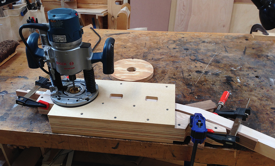 The slat mortise jig set up and ready to use