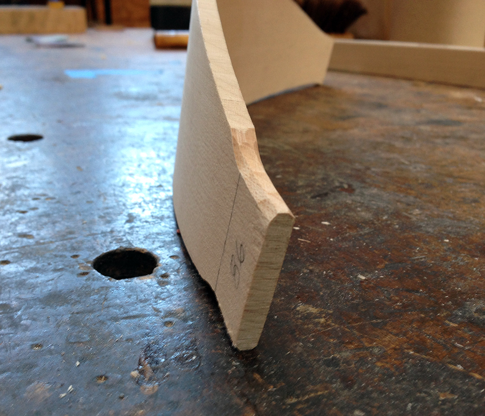 Fitting the slat tenons: Chamfer the top and bottom edges into half an octagon