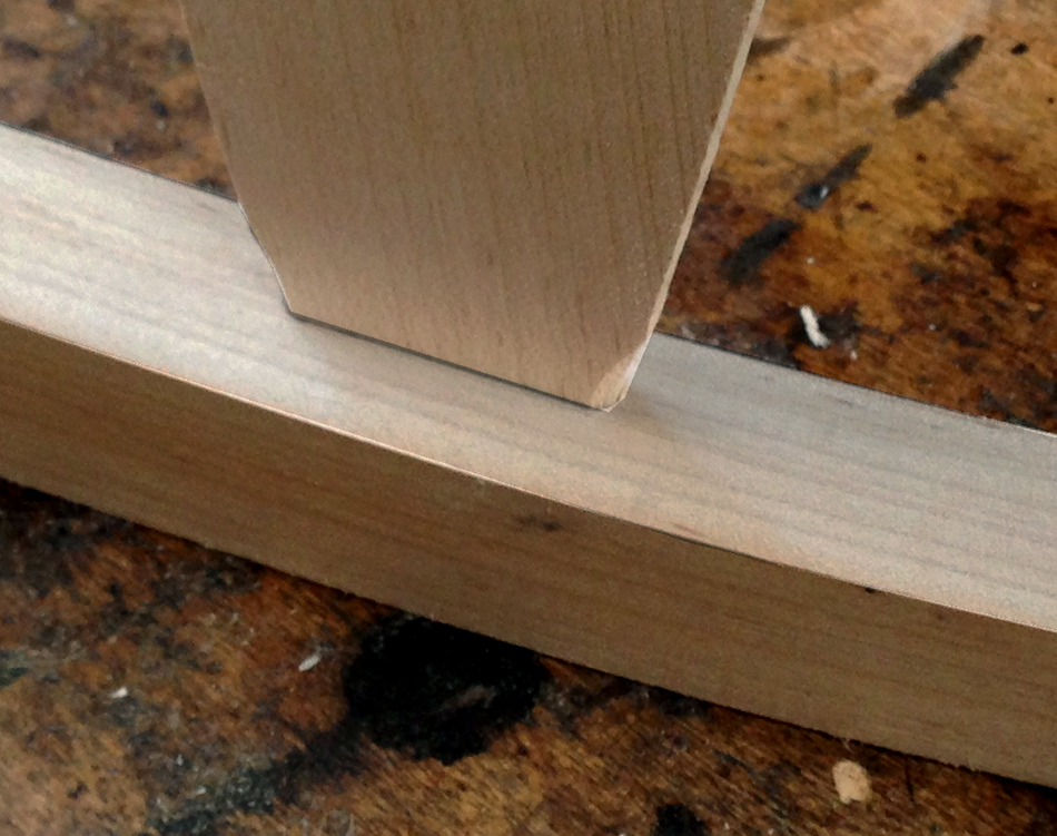 Fitting the slat tenons: Back view of the fitted tenon. The black line is the pencil line for the shoulder, not a gap