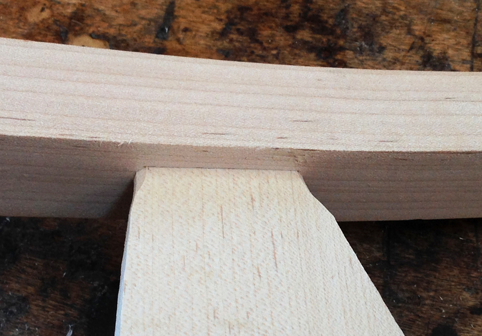 Fitting the slat tenons: Front view of the fitted tenon. Perfect fit the first time!