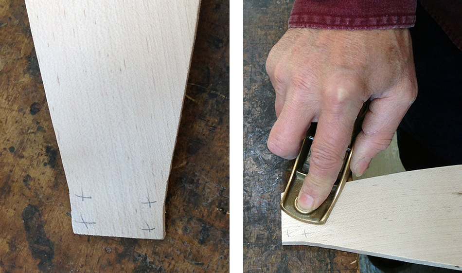 Fitting the slat tenons: Measure the thickness in four places (left). Use a block plane to take thin, cross grain shavings.