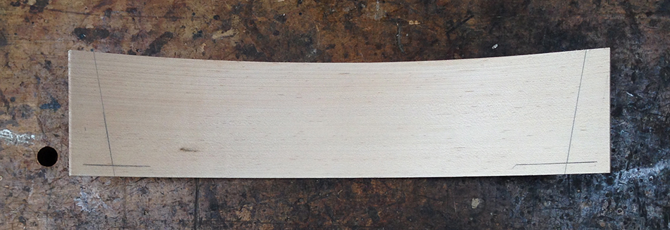 Extend the lines for the tenon shoulders using the bevel gauge
