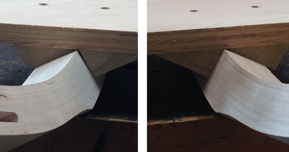 The leg on the right fits nicely into the support blocks. However there is a gap between the support block and the right side of the leg on the left.