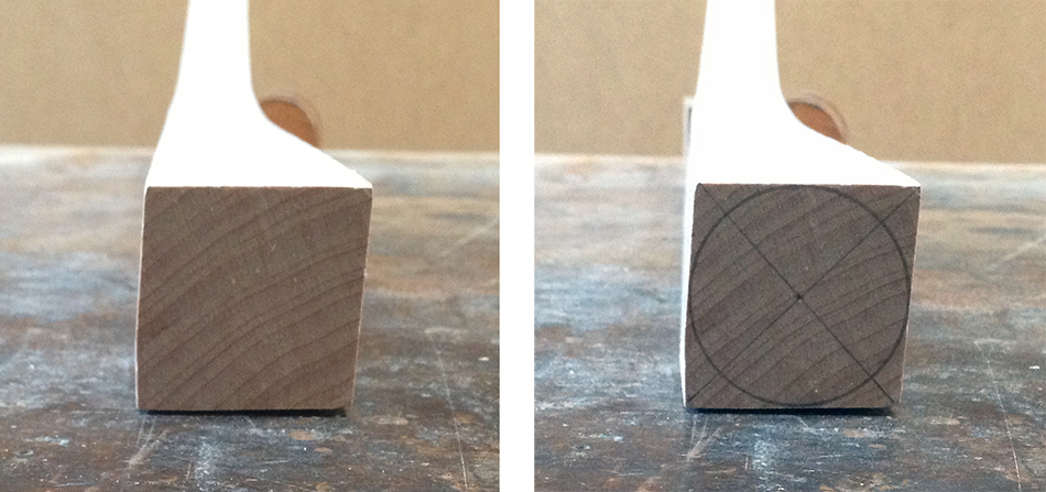This leg was twisted while bending and is out of square, but there is still a fully round leg within the blank