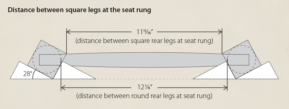 Fitting Slats: This illustration shows the distance between the square rear legs at the seat rung location
