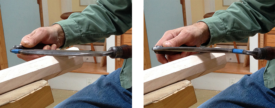 Using a drawknife for flat cuts — bevel up (left) compared to bevel down (right)