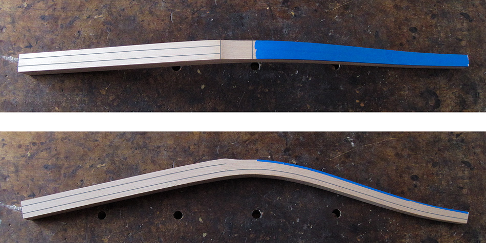 Shaping the rear legs: Blue tape on the front edges above the relief cut serve as a signal not to cut into those edges
