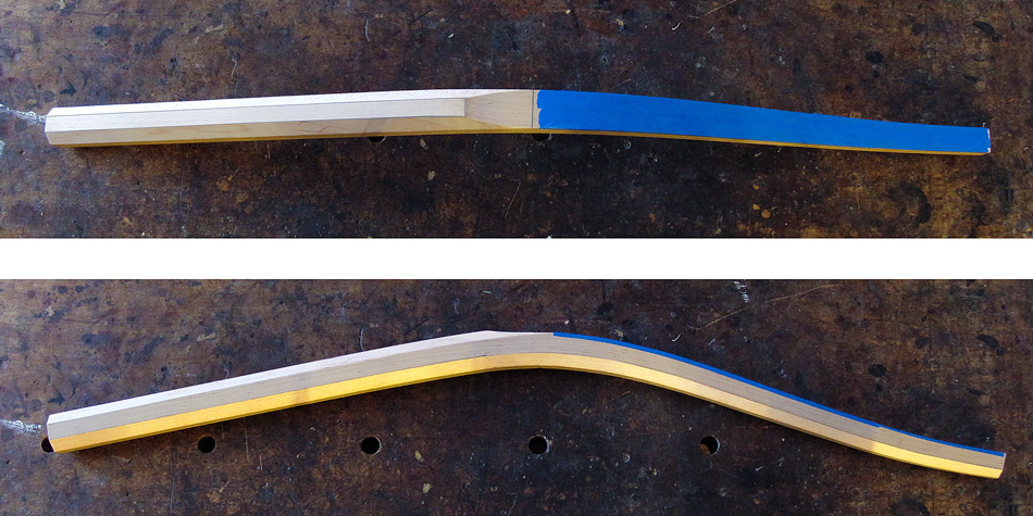 Shaping the rear legs: Two views of a rear leg shaped to the octagon stage