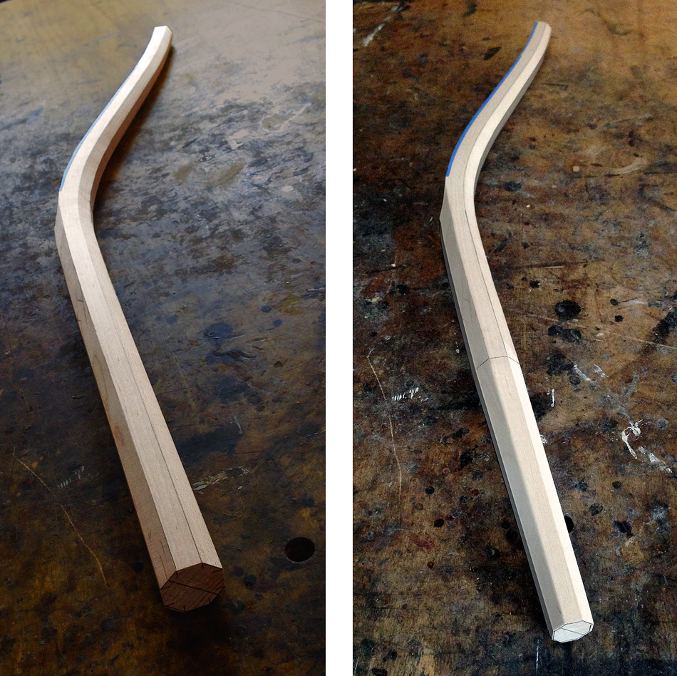 Shaping the rear legs: On the left, a rear leg shaped to an octagon. On the right, the bottom half of the leg has been shaped to a tapered octagon.