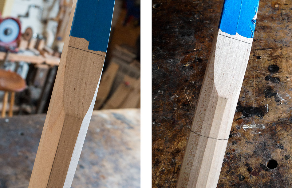 Shaping the rear legs: On the left, the relief cut shaped to an octagon. On the right, the relief cut shaped to 16 sides.
