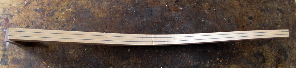 Shaping the rear legs: The back of a rear leg with layout lines for shaping the octagon