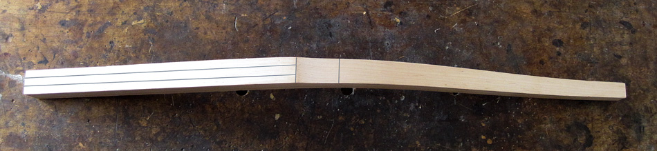 """Shaping the rear legs: The front of a rear leg with layout lines added at the relief cut and 2-1/2"""" above"""