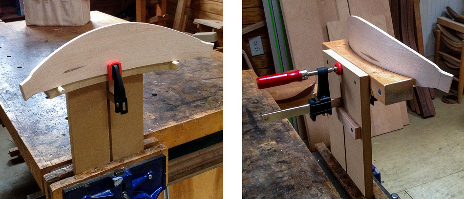 Shaping the slats: A simple jig to hold the slat while hand shaping