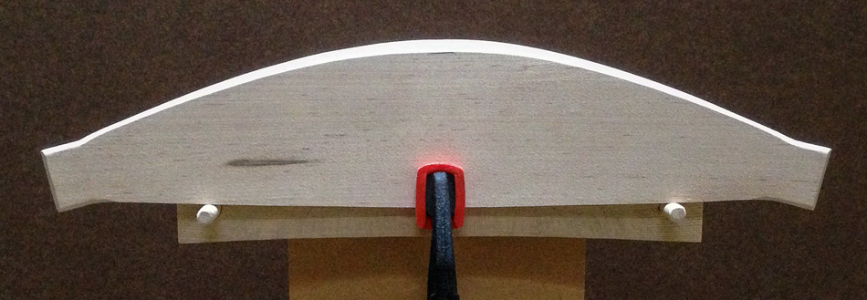 Shaping the slats: The bevel along the top edge is complete