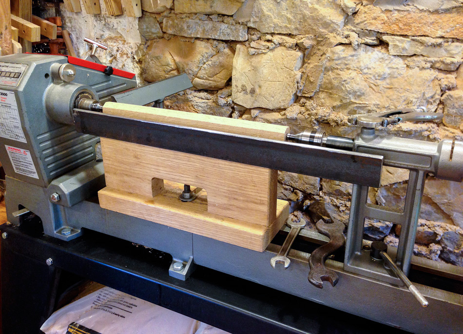 With a custom tool rest I can turn parts up to 24″ long without moving the rest