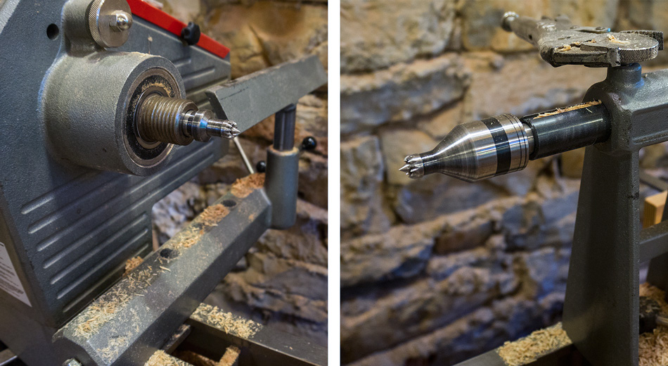 I use a 1/2″ drive stebcentre in the head stock (left) and a 1/2″ revolving stebcentre in the tail stock (right)