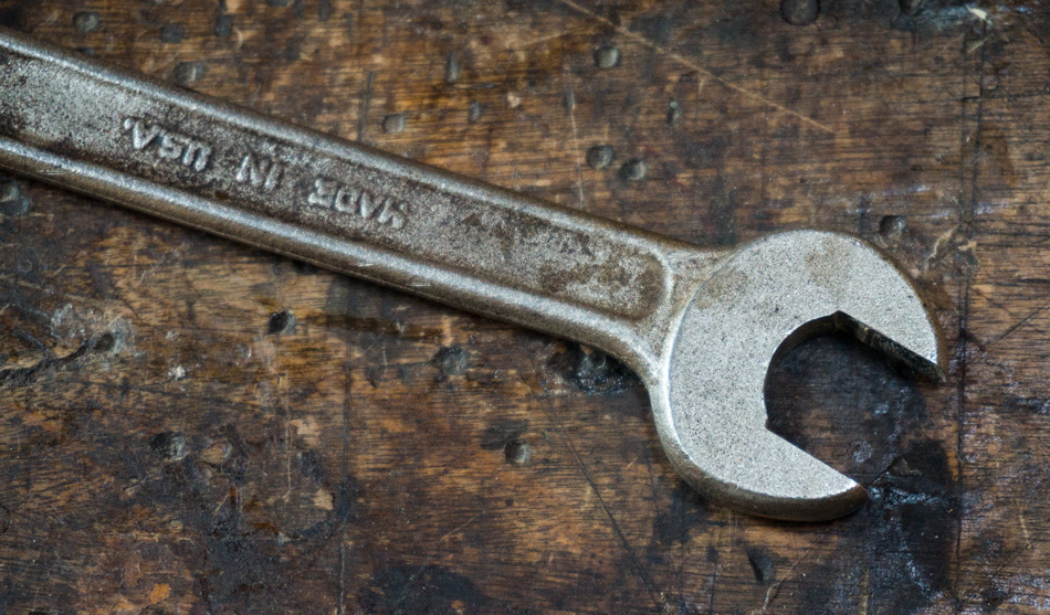 This wrench has been turned into a precision caliper for sizing the rung tenons