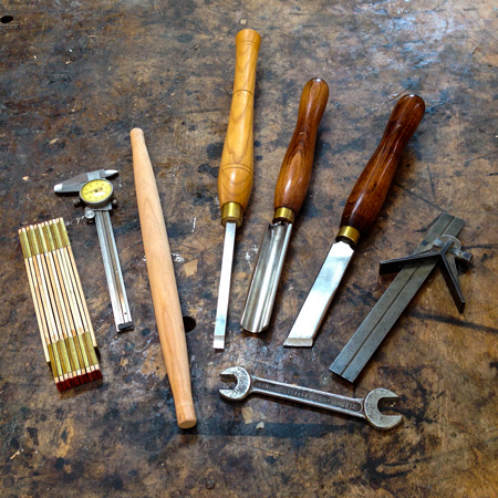 The tools I use for turning rungs