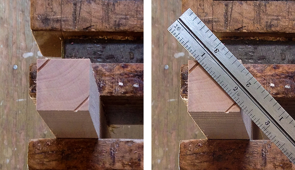 Turning Part 2: Test the v-block set-up by making two kerf cuts and measuring between them