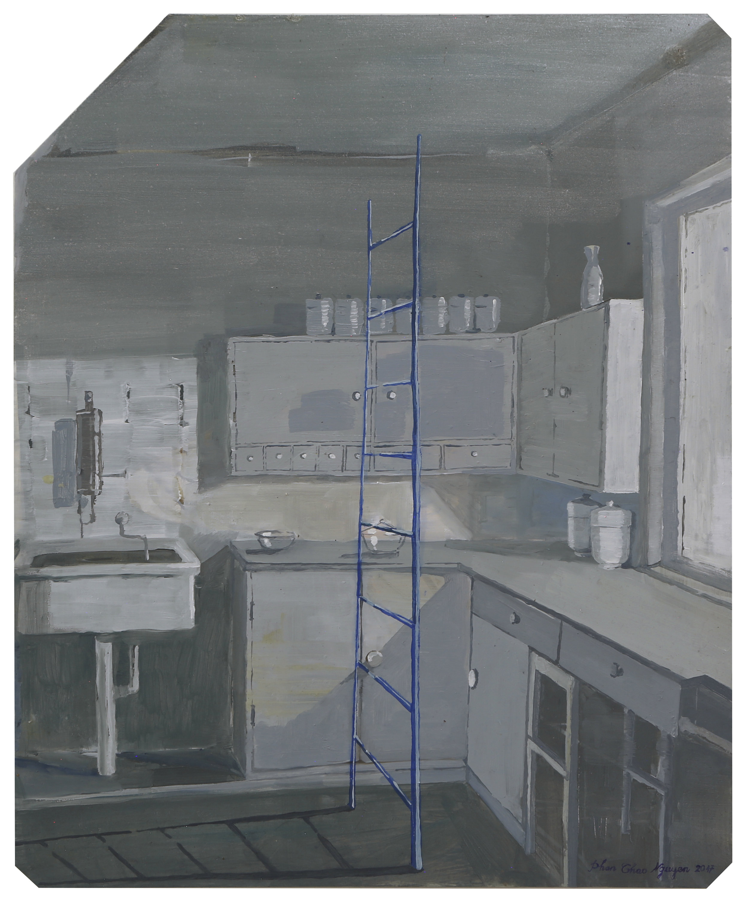 The Bauhaus Kitchen  2017  Oil on x-ray film backing  Framed: 53 x 45cm each (irregular); unique, 43 x 35.3cm (without frame)