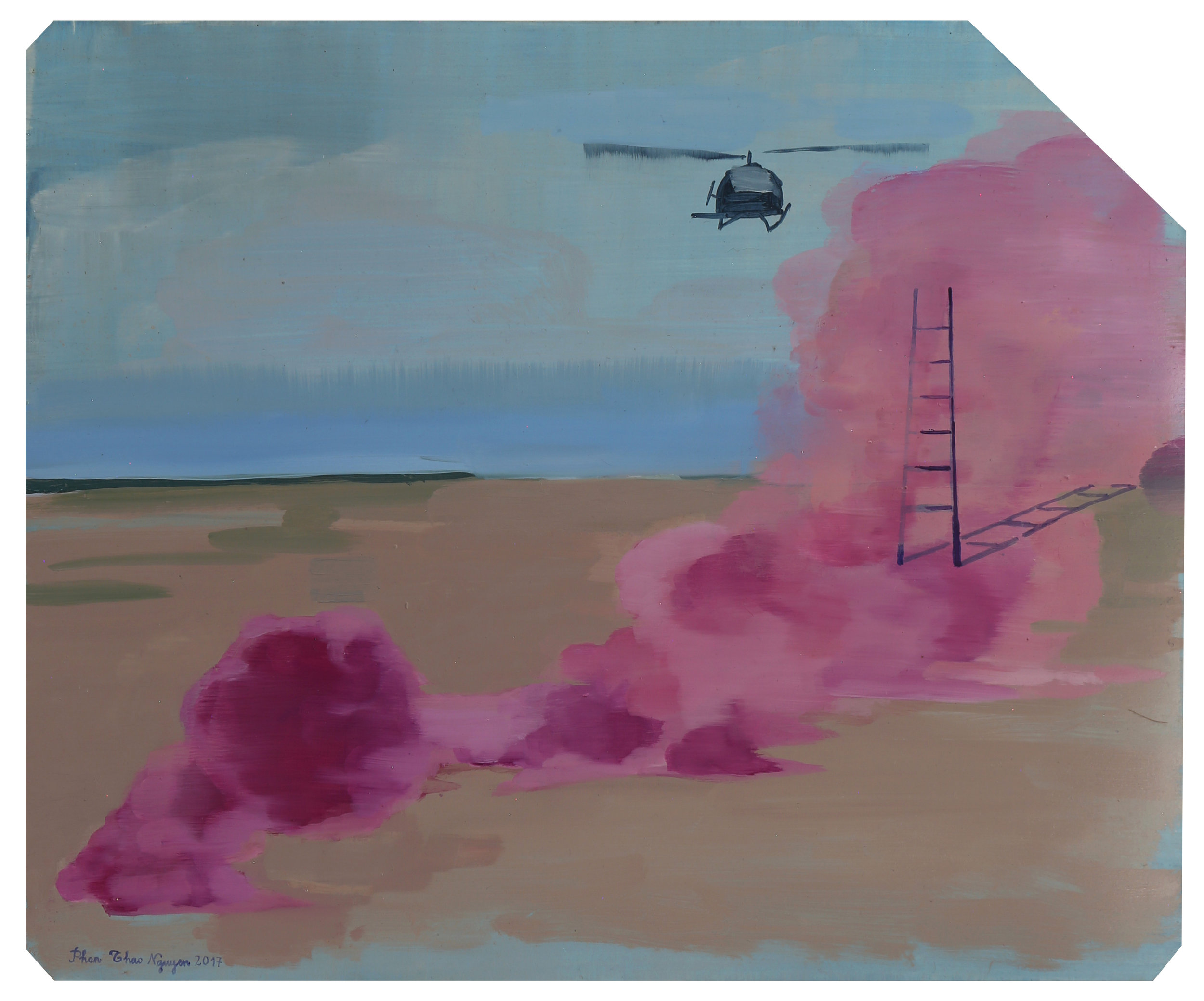 The Chaland in the Rain  Pink Fog (Cluster Bomb)   2017  Oil on x-ray film backing  Framed: 53 x 45cm each (irregular); unique, 43 x 35.3cm (without frame)