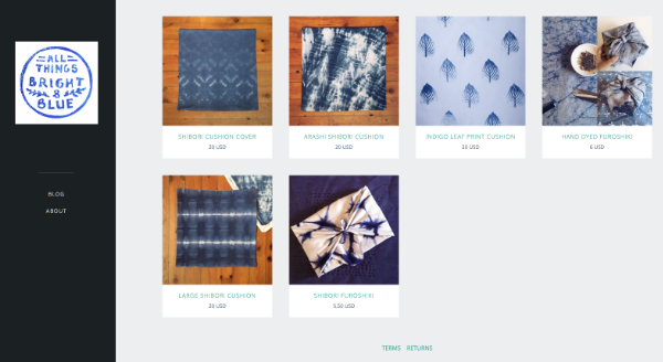 Here I've added some blue hand dyed things I've been making recently to make my very own instant shop!
