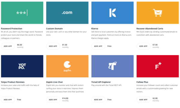 Just a small selection of Tictail's very impressive collection of apps.