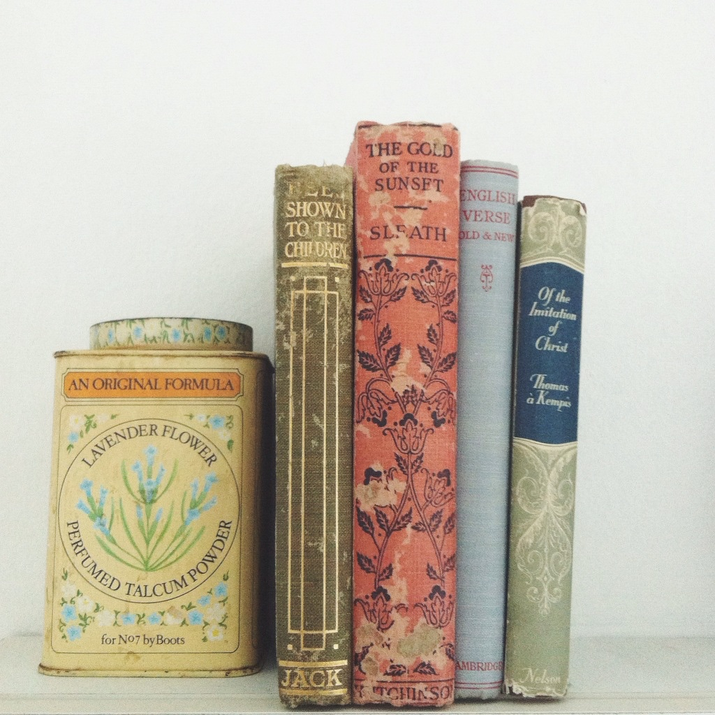 Cloth bound books and vintage tins in one of Kalk Bay's antique shops makes for a sweet pastel scene.
