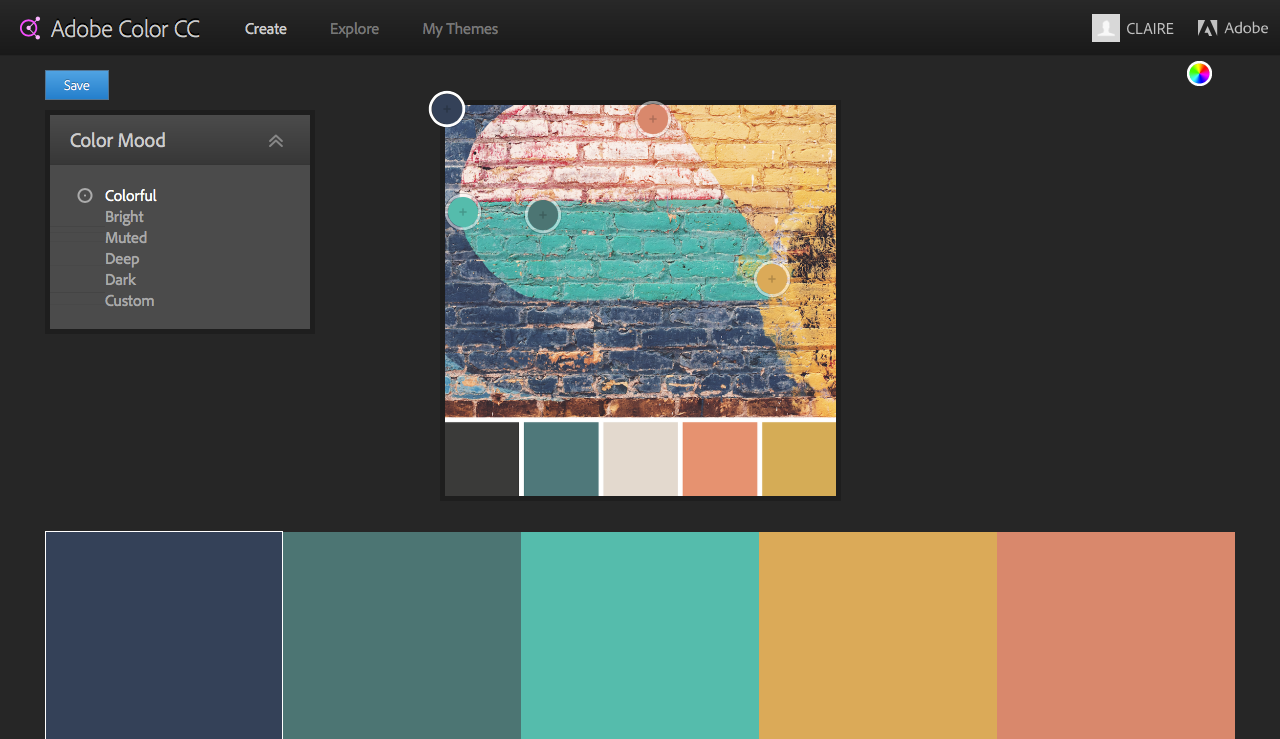 This is what it looks like when choosing a colour palette using  Adobe Color CC