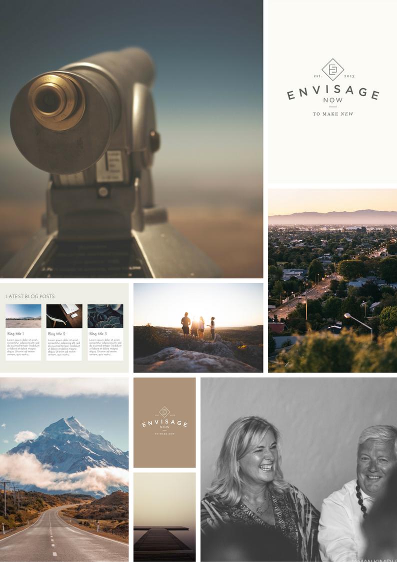 Envisage Now moodboard - vintage tones, spectacular New Zealand landscapes, black & white images.
