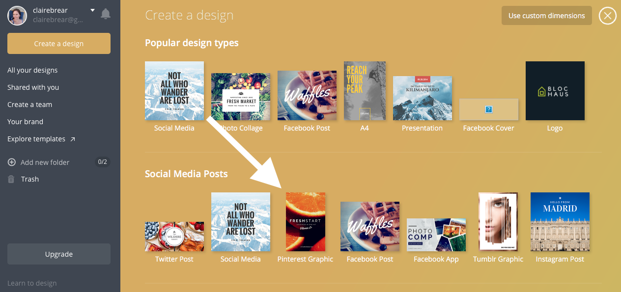 Select 'Pinterest Graphic' under 'Social Media Posts'