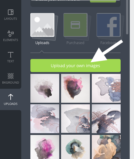 Then select the green button 'upload your own images'