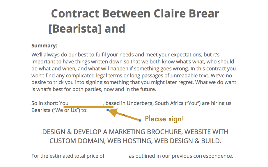 Screenshot of a contract document I've opened with preview and added some annotation to.