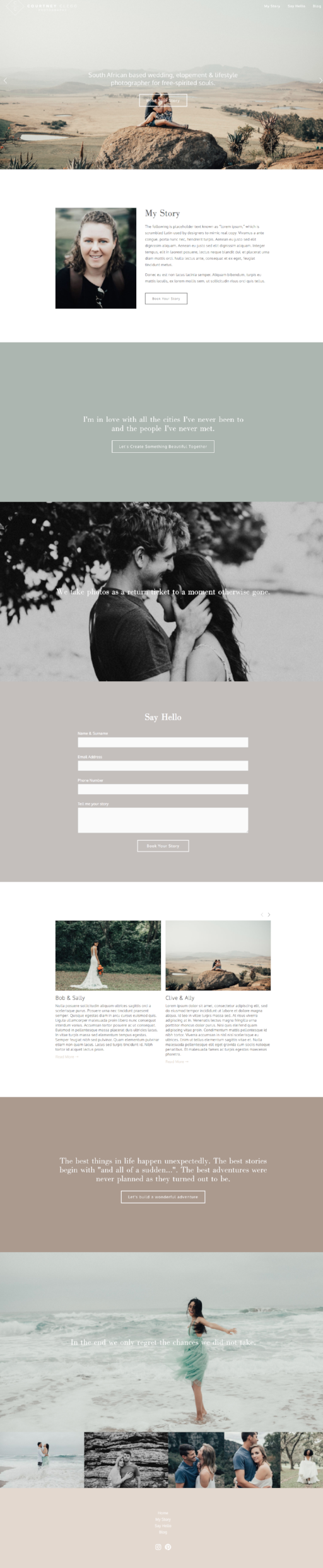 Home page for Courtney Clegg Photography