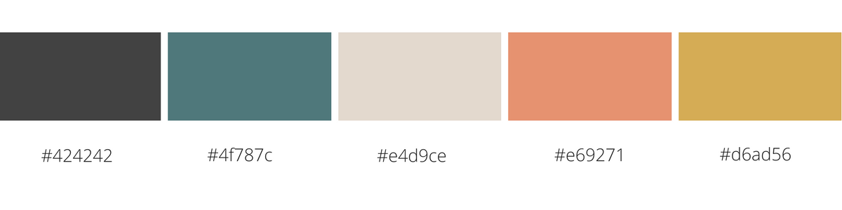Here's my colour palette with the corresponding Hex numbers.