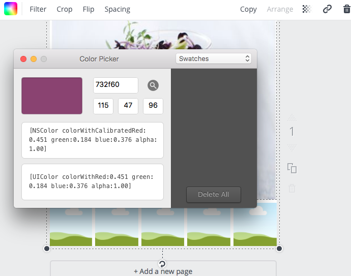 """Here the Color Picker tool is showing the """"Hex Number' that correlates to the purple I've selected."""