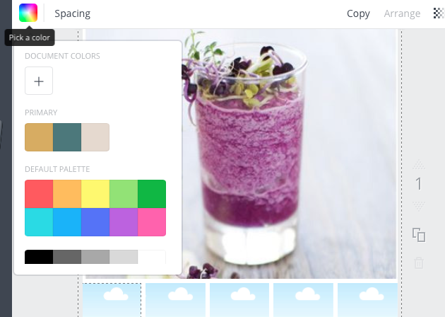 Select the 'Pick a color' option on the top left above your image to add your hex number