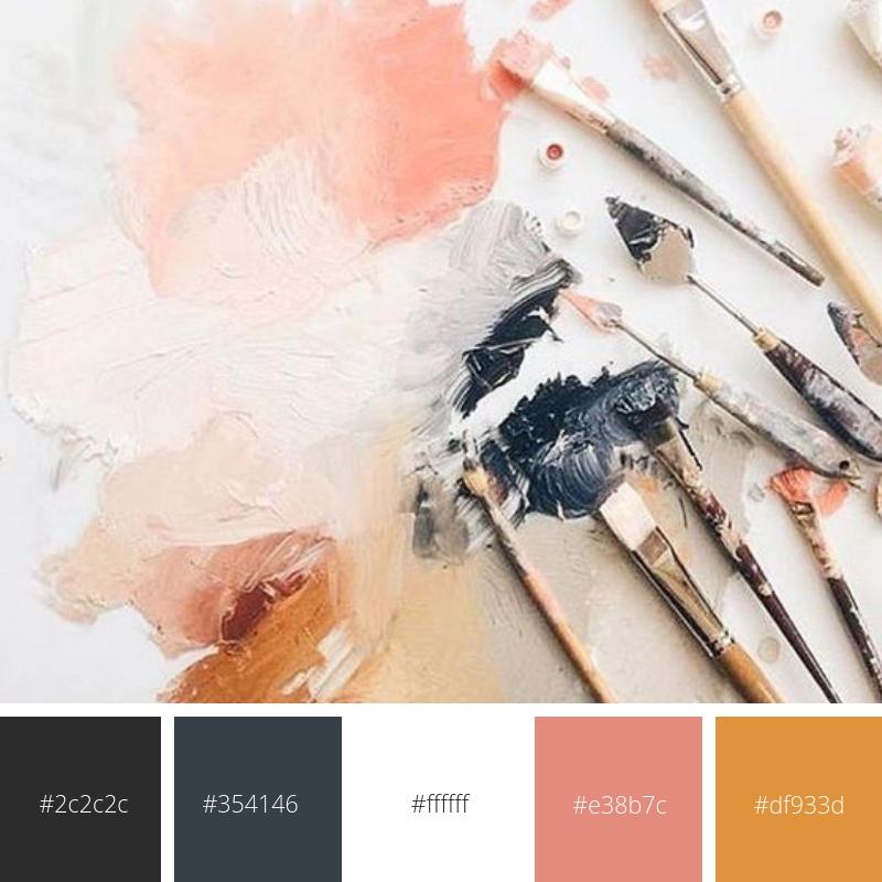 Colour palette of dark blues, greys, cream and coral/orange.