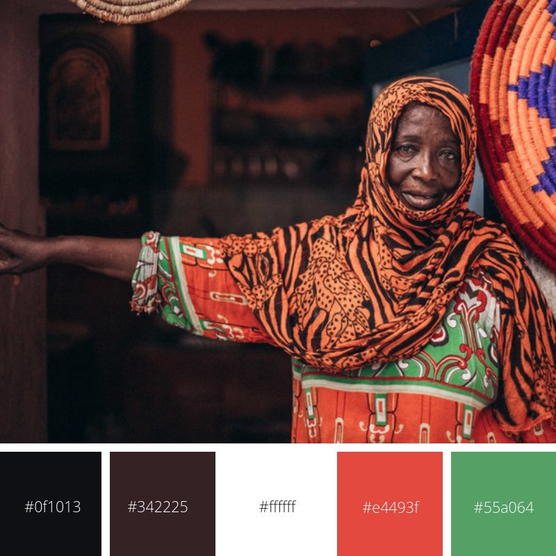 The colour palette was inspired by the 'hero' banner on the home page, a vibrant portrait by Sarah Waiswa.